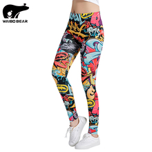 Rock Printing legins Women Leggings Fitness Leggings Stretchy Trousers Fashion Slim WorkOut Pants Female Punk Sexy WAIBO BEAR