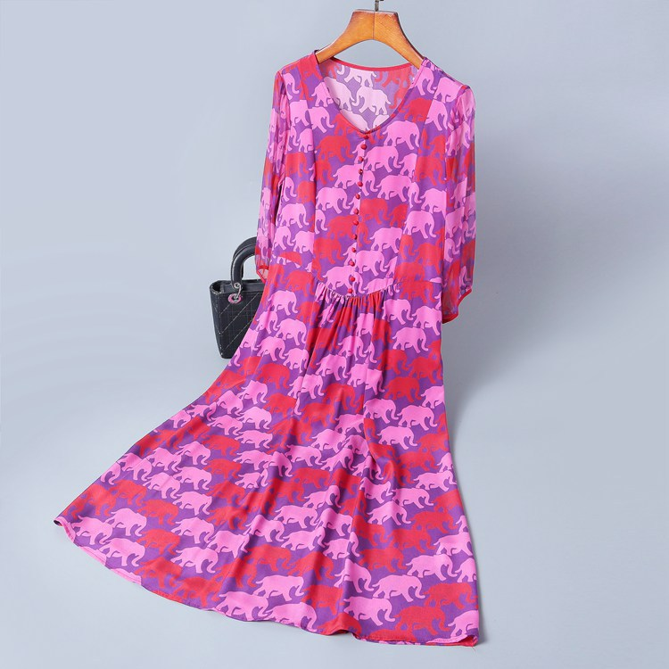 Summer Dress Woman 100 Silk Animal Printed 2019 New V Neck Half Sleeves Slim A Line Casual Elegant Dress Over The Knees S XL in Dresses from Women 39 s Clothing
