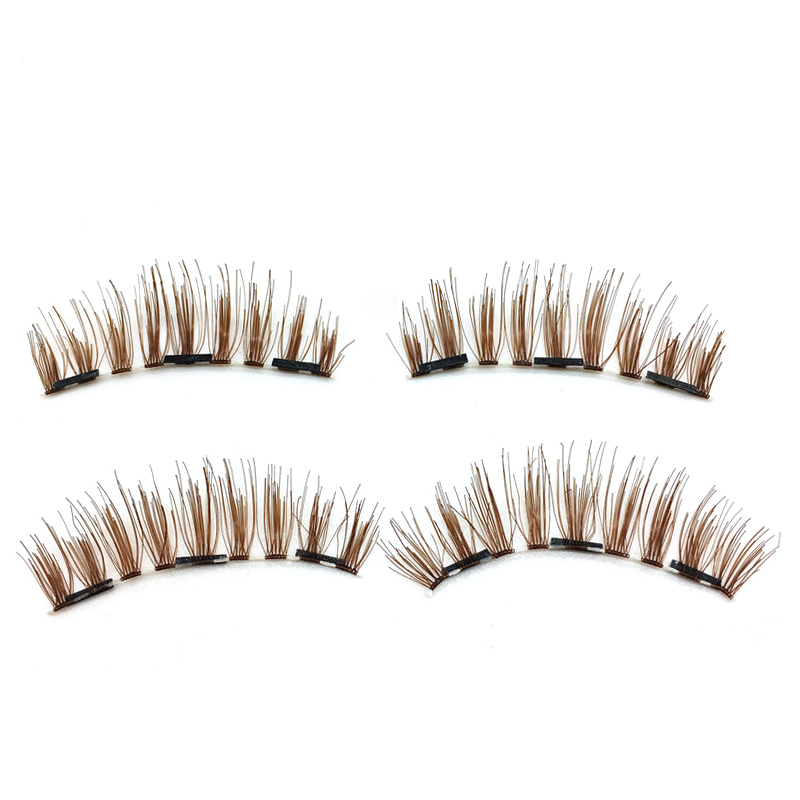 6e12dd4cdc4 Pair 3D Brown Three Magnetic Natural Eyelashes Individual Cross ...