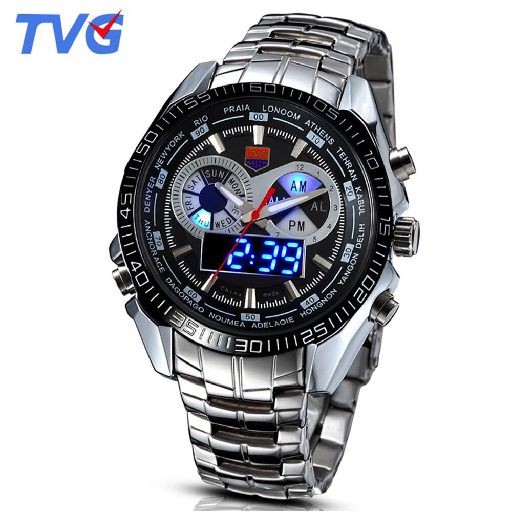 Hot TVG Men Watches Unique Blue Led Disply Analog Digital Quartz Watches Military Army Sports Watches