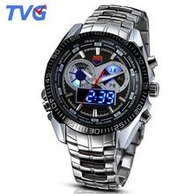 Tvg hombres relojes de primeras marcas de lujo de cuarzo analógico digital relojes 30 m impermeable de buceo deportivo relojes de pulsera para hombres relogio masculino