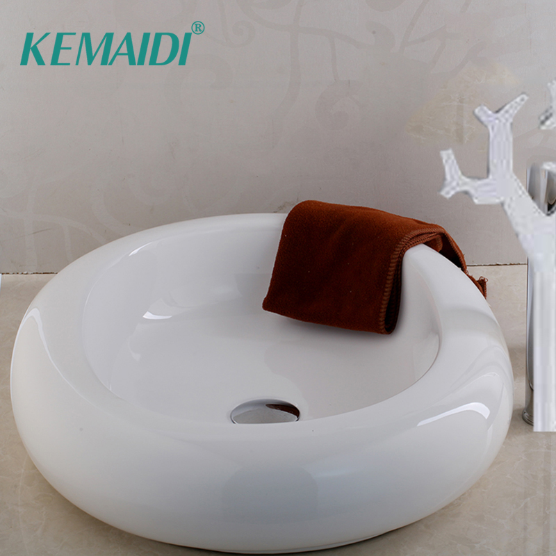 KEMAIDI Bathroom Round Ceramic Vessel Sink White Square Basin Bowl Modern Rectanglar Artistic Wash Basin Faucets Set TapKEMAIDI Bathroom Round Ceramic Vessel Sink White Square Basin Bowl Modern Rectanglar Artistic Wash Basin Faucets Set Tap