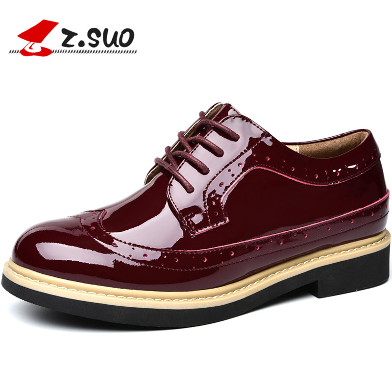 Z. Suo Women's Shoes, Spring Leather Casual Shoes, Non-Slip Wear-Resistant Soles, Fashion Solid Color Retro Shoes Mujer Zapatos z suo men s shoes the new spring and autumn ankle leather casual shoes fashion retro rubber sole lace mens shoes zsgty16066