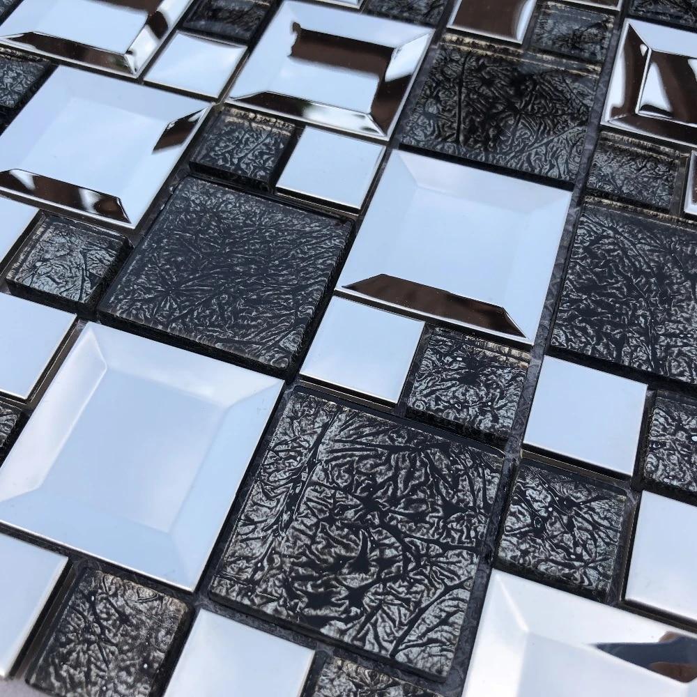 euro luxury metal black glass mosaic tile kitchen backsplash tv background fireplace wall tile decoration home improvement