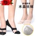 3 Pares Del Sexo de Cristal de seda de Algodón Mujeres Calcetines Zapatillas Anti-derrape Barco Negro Gris Blanco Atractivo Transparente de Alta Calidad calcetines