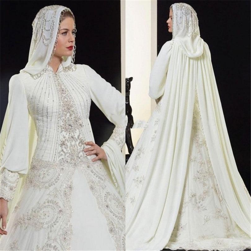 High quality a line ivory chiffon bridal wedding dress for Arabic wedding dresses with hijab
