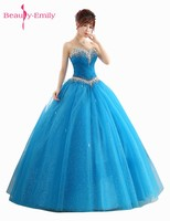 Beauty Emily Sexy Long Quinceanera Dresses 2018 Vestido De Festa Formal Prom Party Gowns Ball Gowns Party Dresses