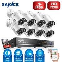SANNCE Home Security HD 1080N 8CH DVR 8PCS 720P IR CUT AHD Resolution CCTV Camera System