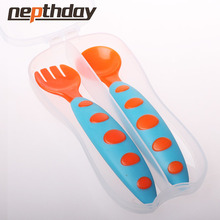 Safe Plastic Baby Spoon+ Fork Colorful Anti-Skid Handle Learning Tableware Children Dishes With Storage Box 2 pcs/Set 13-175/148