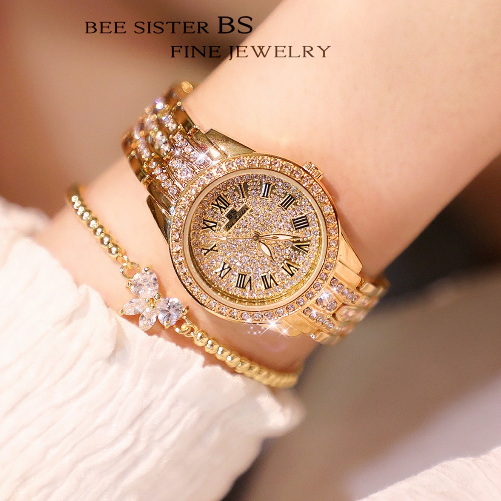 New Famous Brand Luxury Silvery Watch Lady Full Crystal Dress Watch Stainless Steel Watch Women Luxury Diomand Bangle Bracelet | Fotoflaco.net