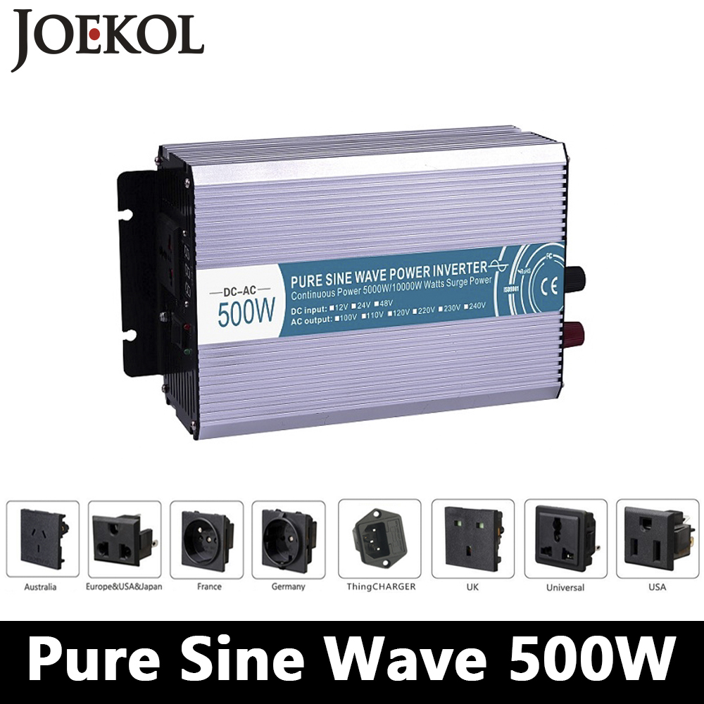 500W pure sine wave inverter,DC 12V/24V/48V to AC 110V/220V,off grid inversor,solar power invertor,voltage converter LED Display off grid pure sine wave dc 48v to ac 110v 120v 220v 230v 240v solar inverter 500w