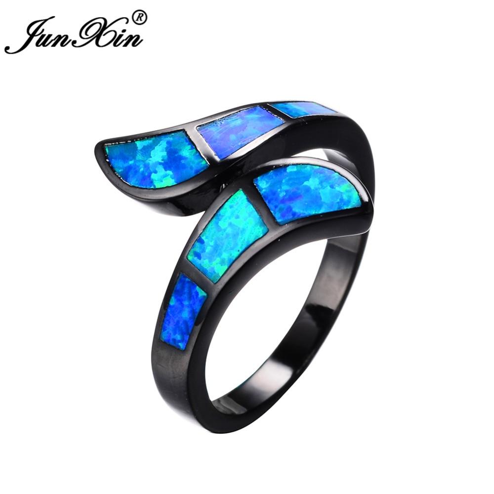 blue opal wedding rings New Fashion Blue Fire Opal CZ Diamond Cross Rings For Women Men Vintage Black Gold