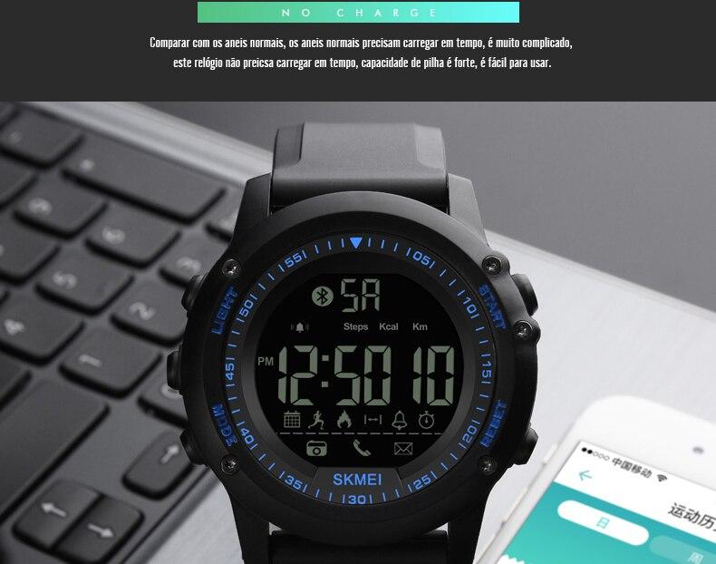 a47e1227208 SKMEI Homens Relógio Inteligente Pedômetro Digital À Prova D  Água ...