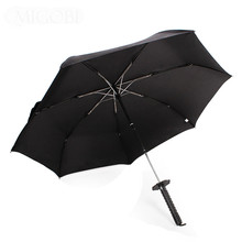 Men Creative Folding Automatic Knife Umbrella Sun/Rain Three Folding Parasol Samurai Personality Solid Color