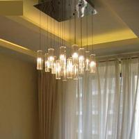 16 Pcs Square G4 Led Kitchen Fixture Crystal Pendant Lights Lantern Lighting For Dining Room Cafe