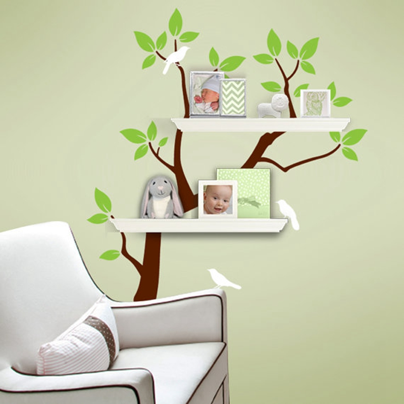 37x42 Tree Wall Decals - Tree Branch Decal with Birds for Shelving - Baby Nursery Wall Decor