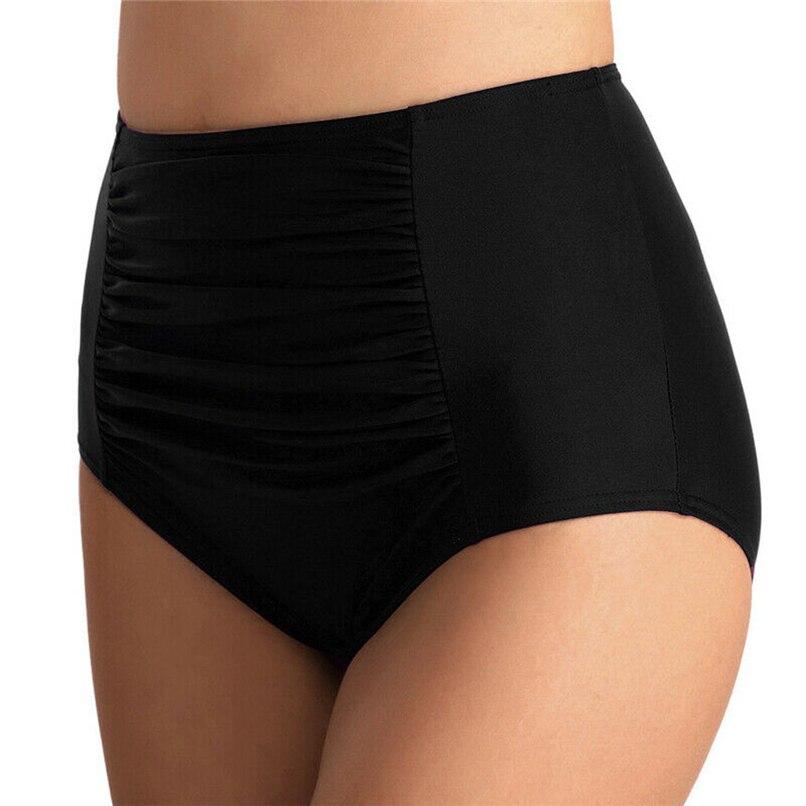 Women High Waist Ruched Bikini Bottoms Tummy Control Swimsuit Briefs Pants Swimwear Large Size #2u24