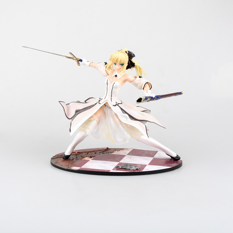 купить Fate stay night White 21cm Japanese anime figure Saber Lily The sword of gold victory PVC Action Figure Model Dolls Toys по цене 2524.74 рублей