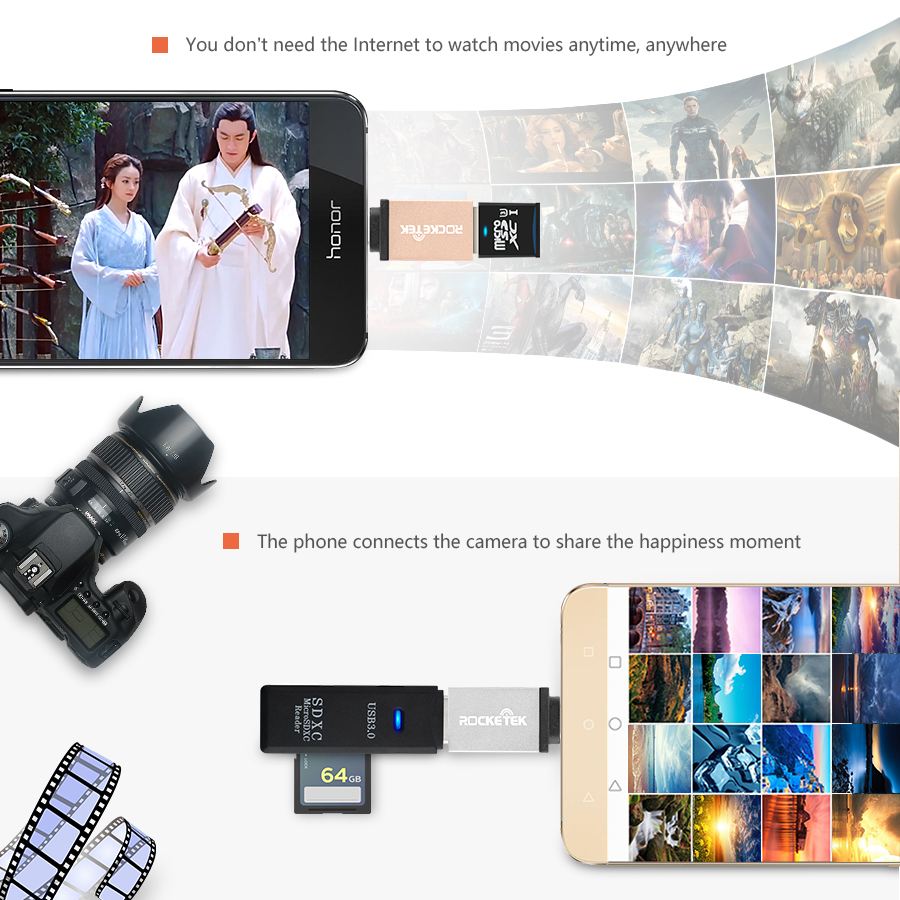 Rocketek high quality USB 3.0 to Type c OTG adapter Alumium Phone type-c accessories Connector for Xiaomi Oneplus LG Nexus 5X 6P