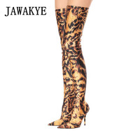 JAWAKYE Leopard Print Elastic stockings thigh high boots Women Sexy Stiletto High Heels Pointy Party Shoes Sock long booties