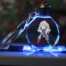 Zoeber New Dragon Ball Z Crystal Keychain Cartoon anime Crystal Ball 1-7 Stars cosplay ball Led Keyrings car bag key holder(China)