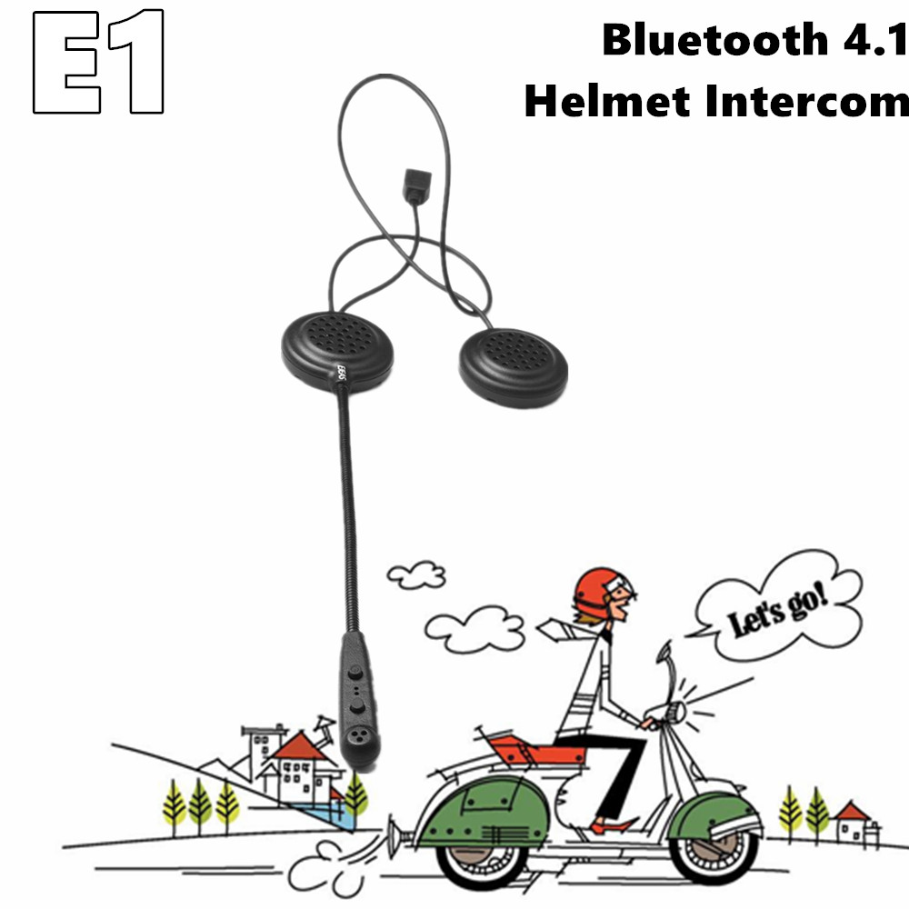 Newest Tech Inrecom E1 Stable Bluetooth 4.1 Long Standby HD Quality Helmet Headset Noise Reduction Connect 2 Phone Walkie Talkie