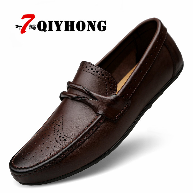 QIYHONG Big Size High Quality Genuine Leather Men Flats Slip Soft Leather Men Shoes Comfortable Male Casual Shoes Moccasins high quality men flats shoes genuine leather mens formal dress shoes handmade casual shoes soft oxfords moccasins