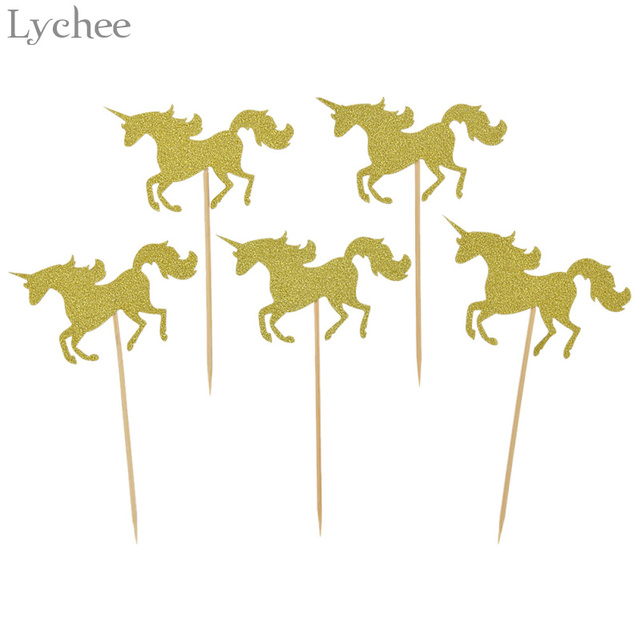 Lychee 5pcs Glitter Unicorn Horse Wedding Cake Topper Baby Shower Birthday Party Dessert Decoration Supplies