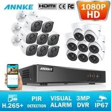 ANNKE 16CH 3MP H.265 + 5in1 CCTV DVR 8 stücke 1080P Dome Kamera und 8 stücke Kugel PIR Erkennung kamera Video Überwachung System Kit
