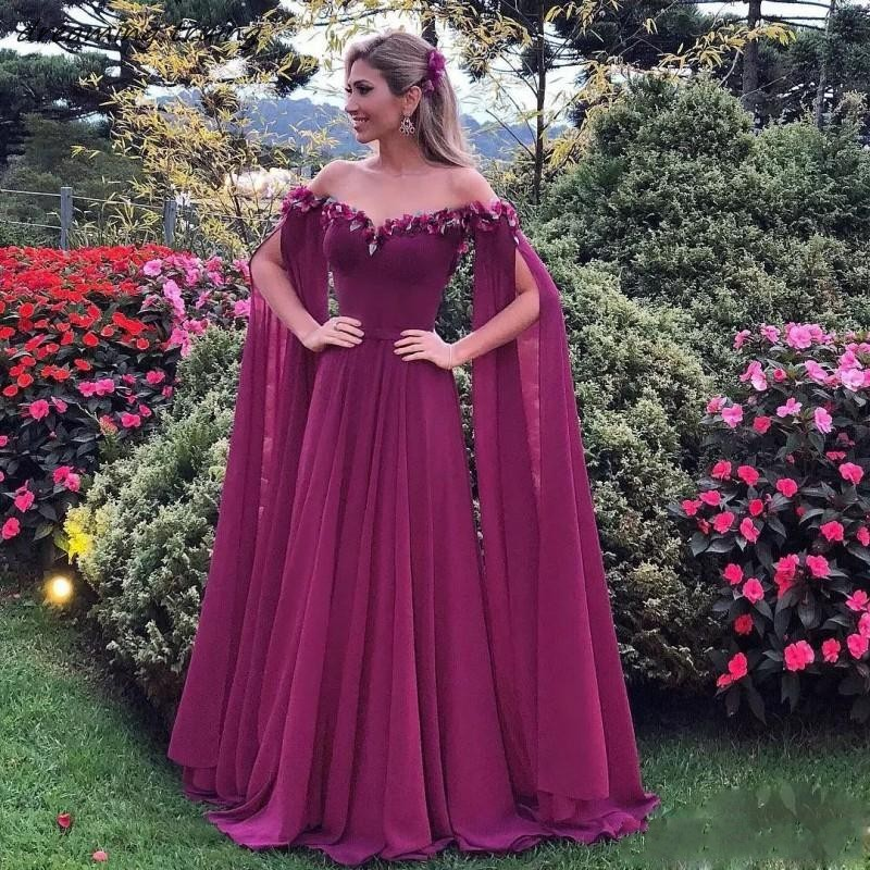 See Through O-Neck Evening   Dresses   Wear Long Sleeves 3D Flowers Chiffon Purple   Prom     Dress   Long Pleats African Party Gowns 2019