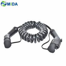 5m 16a 32a sae j1772 tipo 1 para tipo 2 ev cabo de carregamento portátil carregador ev cabo espiral