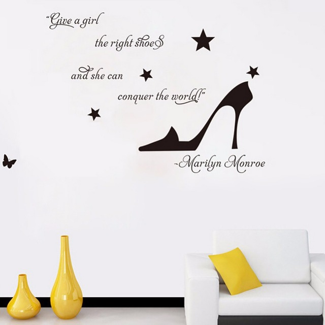 Creative Wall Stickers Marilyn Monroe Give A Girl The Right Shoes Wall  Quote Vinyl Decal Stickers