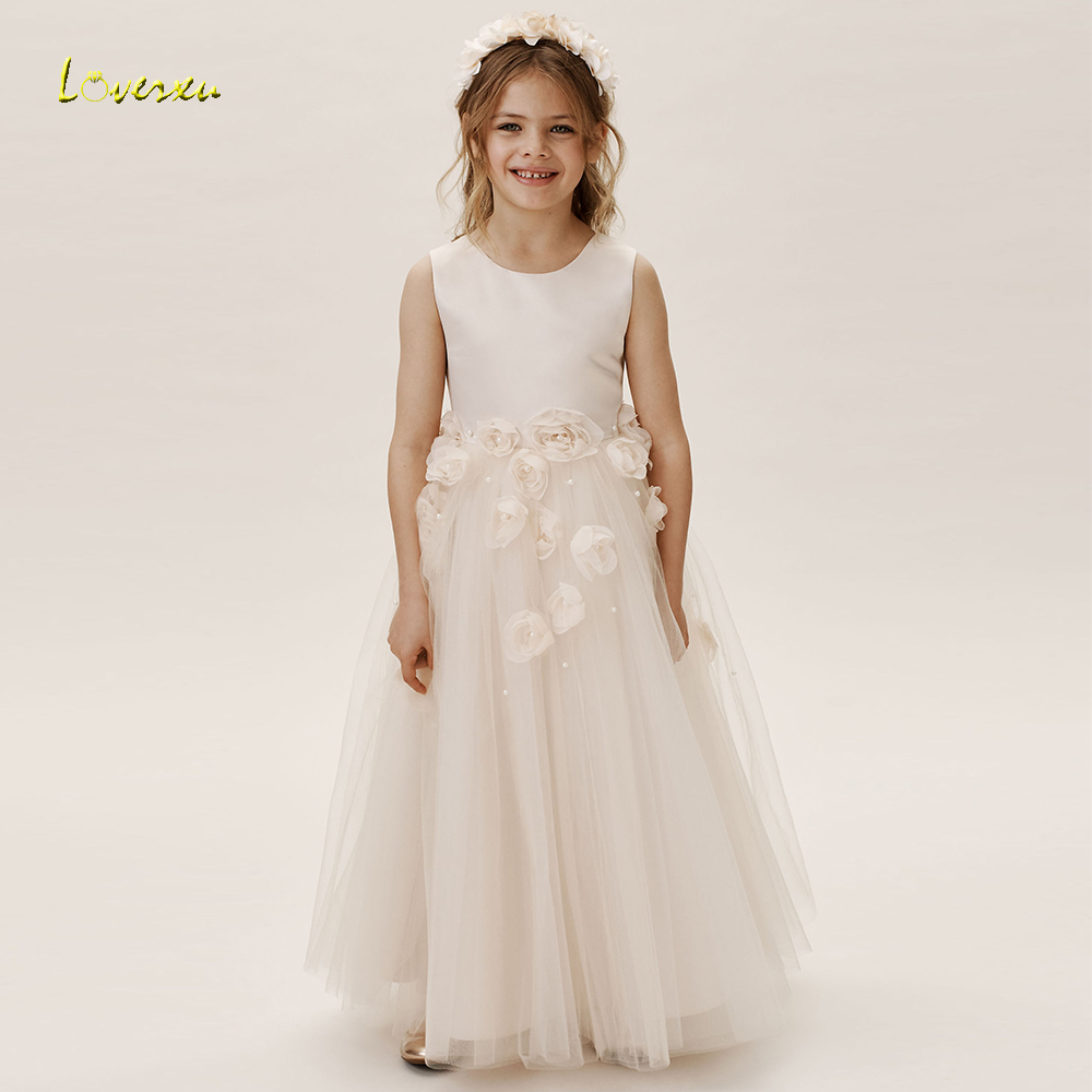 Loverxu Fabulous O-Neck A Line Ankle Length   Flower     Girl     Dresses   Graceful Tank Sleeve Backless Demure Organza Wedding Party   Dress