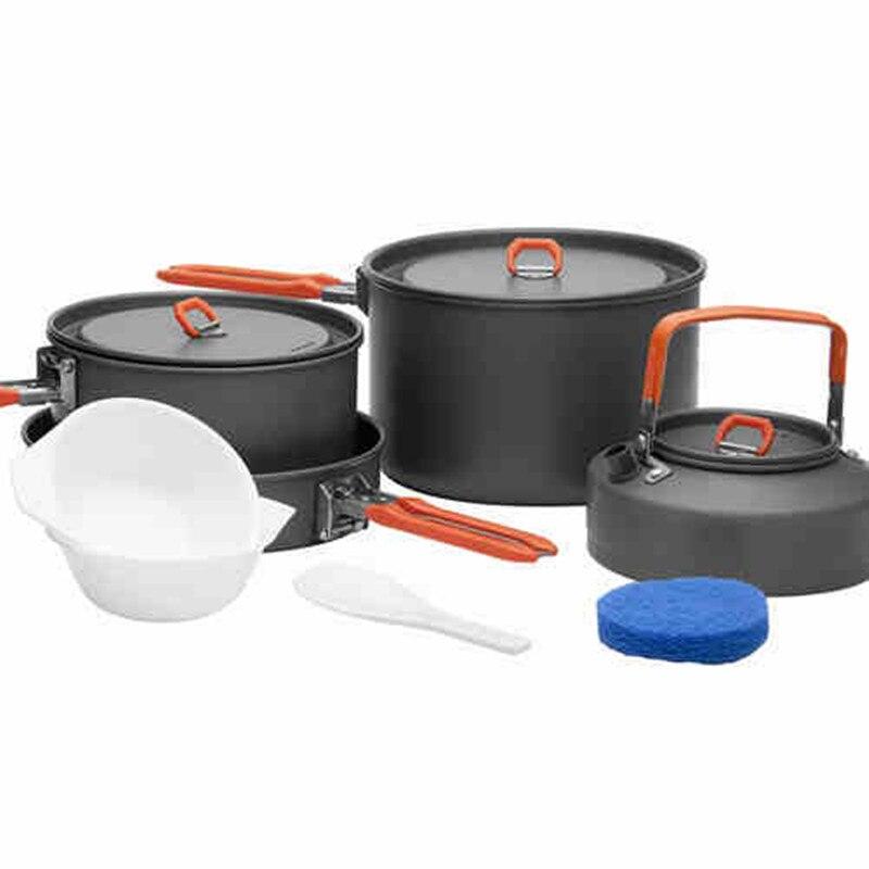 Feu-érable extérieur voyage Camping Portable ustensiles de cuisine 4-5 personnes alcool poêle pique-nique Pots poêle cuisson ensemble SY4