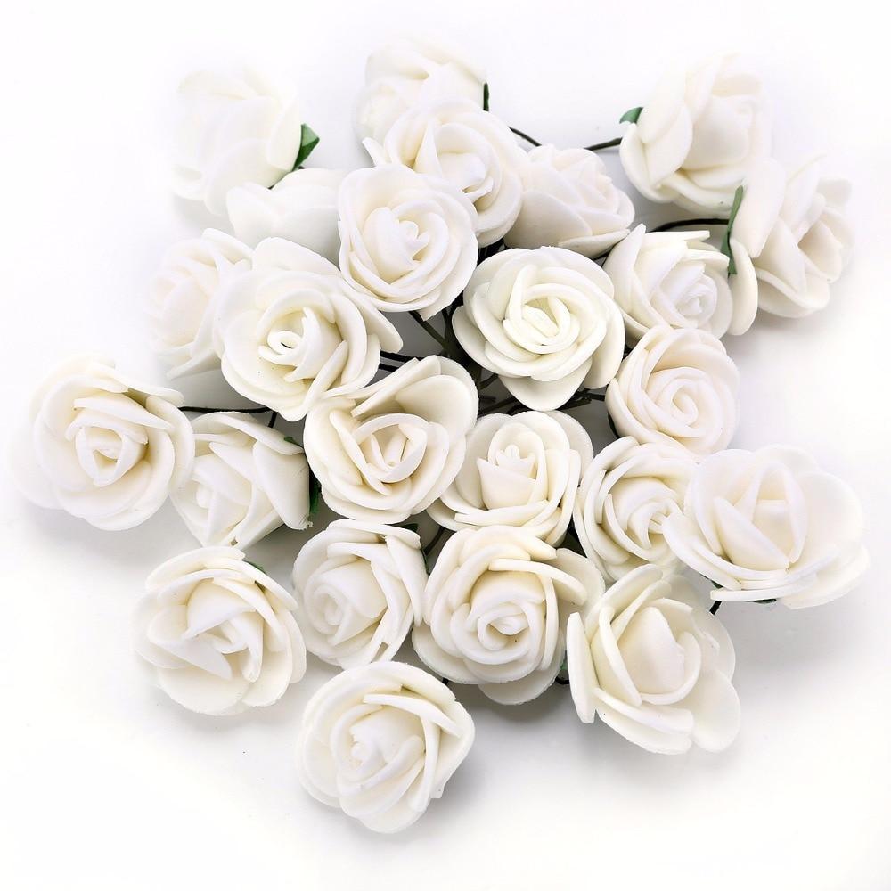 100 X 2cm White Foam Roses Artificial Flower Wedding Bride Bouquet