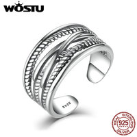 WOSTU High Quality Real 925 Sterling Silver Intertwine Open Rings For Women Men Vintage Style Fine