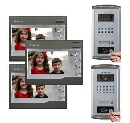 ZHUDELE 3X7Video Door Phone Monitors+2XIR HD IR Camera w/t ID Card Unlocking function Home Security Intercom System For 2 Doors