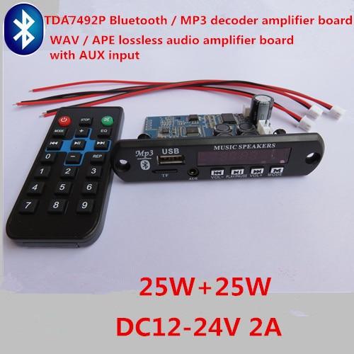 TDA7492P 25W+25W Bluetooth / MP3 Decoder Amplifier Board Bluetooth / USB (U Disk) / TF Card /WAV / APE / AUX Audio Input