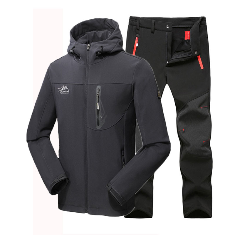 Man Winter Waterproof Fishing Skiing Hiking Trekking Camping Men Warm Softshell Fleece Outdoor Jacket Suit Pants 5XL Plus size direnjie man winter waterproof fishing camping trekking fleece softshell outdoor jacket pant set sport hiking trousers 5xl s36