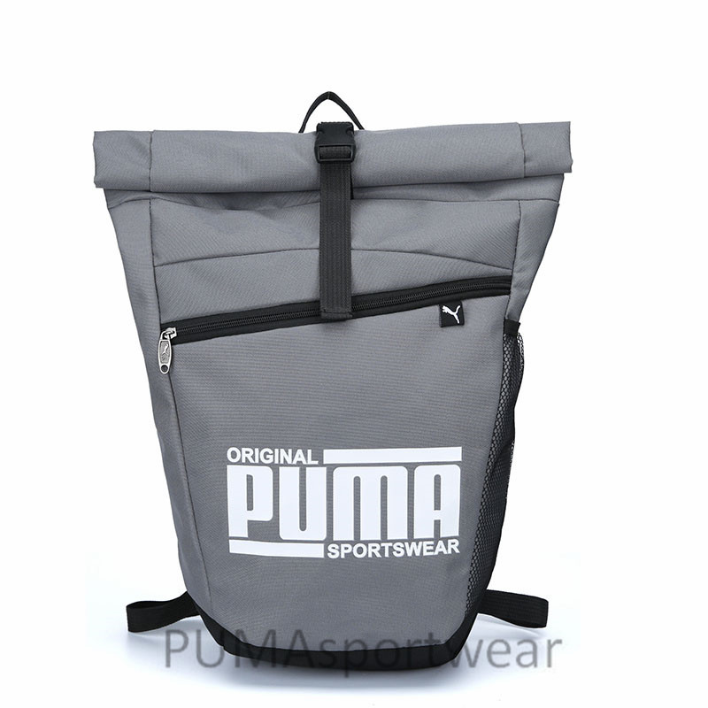 New Arrival Puma Originals Large Capacity Grid Backpack Unisex Big Backpacks Black And White Sports Bags Lustrous Surface Sports & Entertainment