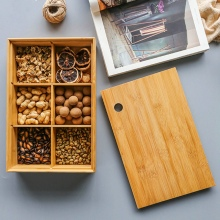 Creative Bamboo 6 Grid Storage Box Tea Tray Candy Snacks Dried Fruit Nut Box Removable Division Organizer Home Decoration