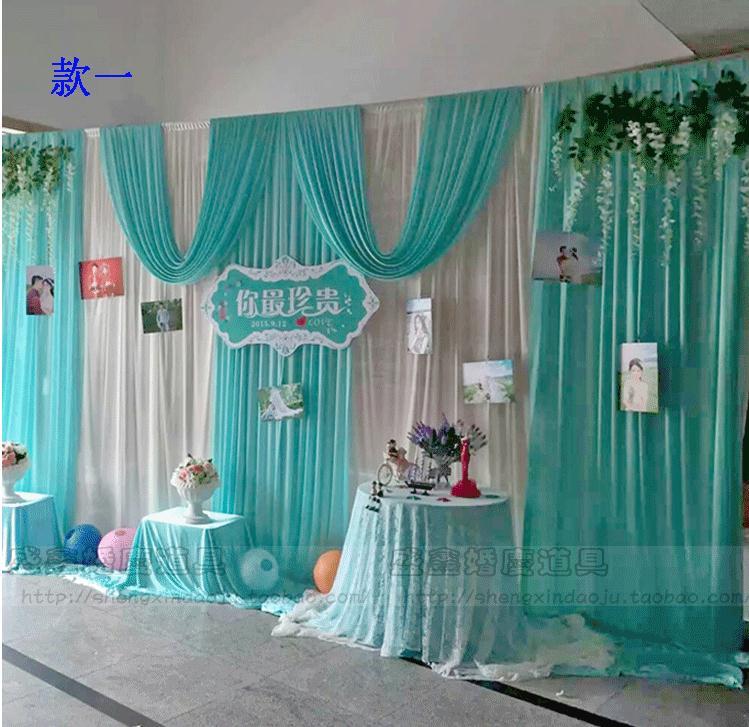 3*6m Wedding Party Ice Silk Fabric Drapery White Blue