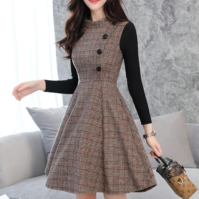 2018 Women Autumn Winter fashion sleeveless wool plaid knee-length elegant a-line woolen tank dess plus Size 2XL