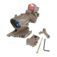 JJ Airsoft ACOG Style 4x32 Scope Red/Green Reticle Illumination with Mini Red Dot,AC12033 Bobro Style QD Mount (Tan)