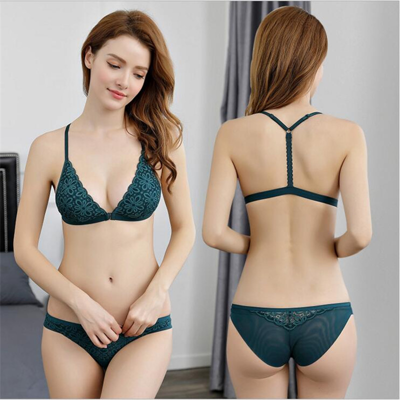 f083af180 New Daisy Lace No Steel Bra Set Thin Sexy Y-type Beauty Back buckle Summer Women s  Underwear
