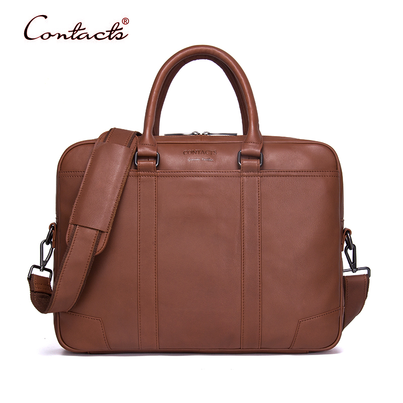 купить CONTACT'S Men Briefcases Genuine Leather Messenger Bags Shoulder Crossbody Bag Tote Male Handbags Business Laptop 2017 New Brand недорого