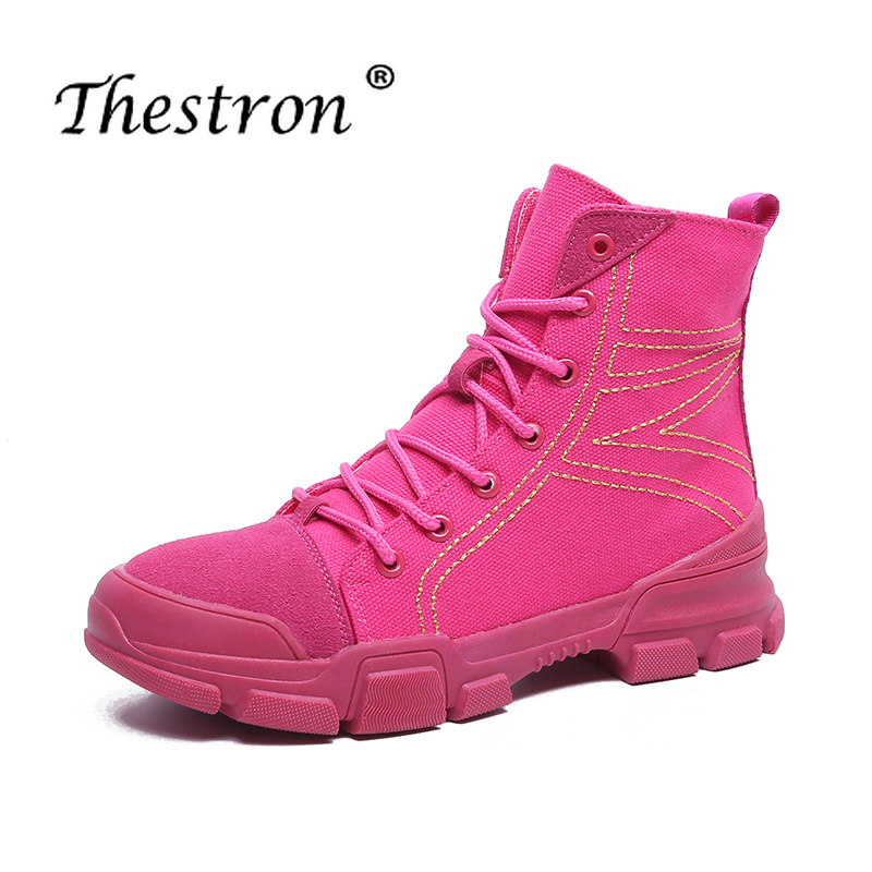 Thestron New Trend High Top Flat Boots Spring Autumn Anti Slip Women Ankle Boots Winter Comfortable Brand Shoes Women Boot Ankle in Ankle Boots from Shoes