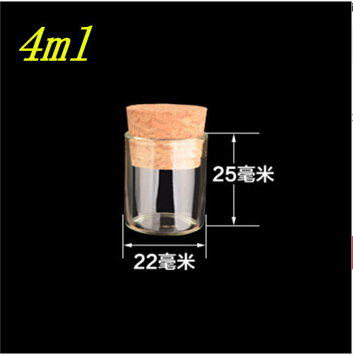 4ml Small Glass Vials Jars Test Tube With Cork Stopper Empty Glass Transparent Clear Bottles