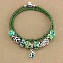 D'origine bracelet bijoux de mode simple deux cercle En Cuir Corde Bracelet trèfle BRICOLAGE Pendentif Bijoux