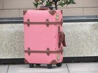 Customized Vintage Universal Wheels Trolley Luggage Genuine Leather Travel Bag Luggage 18 20 22 24 28